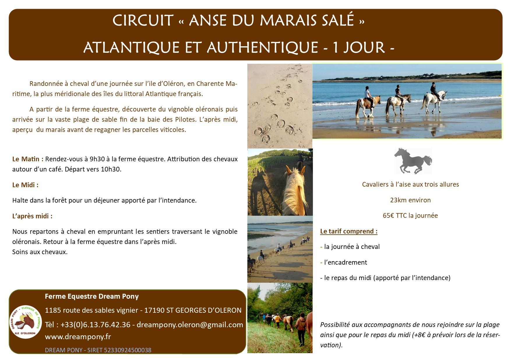 description circuit à cheval anse du marai salé, ile d'oléron, dream pony